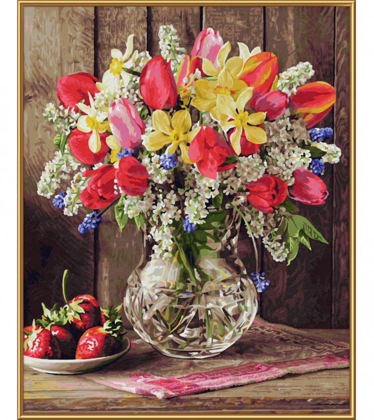 Kwiaty I Rośliny Kwiaty I Truskawki 40 X 50 Cm Malowanie Po